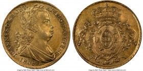 João Prince Regent gold 6400 Reis 1808/7-R AU58 NGC, Rio de Janeiro mint, KM236.1, LMB-558. Bordering on fully struck and displaying a dazzling periph...