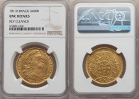 João Prince Regent gold 6400 Reis 1811-R UNC Details (Reverse Cleaned) NGC, Rio de Janeiro mint, KM236.1, LMB-573. Boldly struck and lacking any evide...