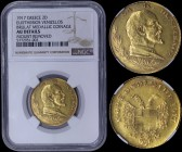 "GREECE: 2 Ducat (1917) in gold with legend ""EΛ. Κ. ΒΕΝΙΖΕΛΟΣ"" and bust facing right on obverse. Crowned double headed eagle and the legend ""1909.ΕΘΝΟΣ..."