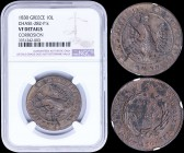 "GREECE: 10 Lepta (1830) (type B.1) in copper with (small) phoenix with converging rays in pearl circle. Variety ""283-P.k"" (Rare) by Peter Chase. NGC b..."
