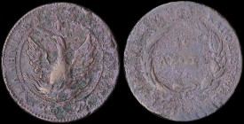 "GREECE: 10 Lepta (1830) (type B.1) in copper with phoenix with unconcentated rays. Variety ""316-AG2.af"" (Very rare) by Peter Chase. Corrosion and stri..."