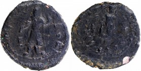 Copper Drachma Coin of Kanishka I of Kushan Dynasty of Buddha type.