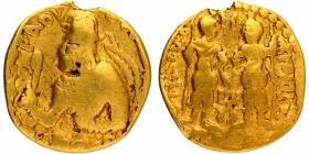Gold One Quarter Dinar Coin of Huvishka of Kushan Dynasty.