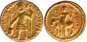 Gold Dinar Coin of Vasudeva I of Kushan Dynasty of Oesho type.