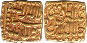 Gold Square Mohur Coin of Akbar of Bang Mint.