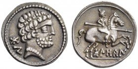 SPAIN, Bolskan - Osca. Circa 150-100 BC. Denarius (Silver, 18mm, 3.57 g 1). Bo Bearded male head to right, wearing pearl necklace. Rev. BoLSCaN Horsem...