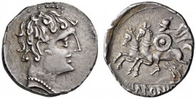 SPAIN, Ikalesken. Circa 150-100 BC. Denarius (Silver, 18mm, 4.04 g 5). Youthful male head to right, wearing pearl necklace. Rev. IKaLESKeN Horseman wi...