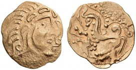 GAUL, Northeast. The Parisii. Circa 70-60 BC. Stater (Gold, 24mm, 6.99 g 2), Class V. Celticized head of Apollo to right, with wavy hair; to right, fl...