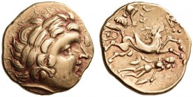 GAUL, Northeast. The Aulerci Cenomani. 2nd Century BC. Stater (Gold, 20mm, 7.63 g 6). Stylized laureate head of Apollo to right, with dolphin before h...