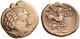 GAUL, Northeast. The Aulerci Cenomani. 2nd Century BC. Stater (Gold, 21mm, 7.38 g 1). Stylized laureate head of Apollo to right, with dolphin before h...