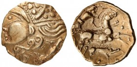 GAUL, Northwest. The Aulerci Eburovices. Hemistater (Gold, 17mm, 3.43 g 10). Highly stylized, Celtic 'deconstructed' head of Apollo to left, with a 'd...