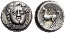 EASTERN EUROPE, Middle Danube Area. Earlier 3rd century BC. Tetradrachm (Silver, 19mm, 13.34 g 12), The 'Apollokopf/Petasosreiter' type. Facing head o...
