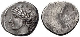ETRURIA, Populonia. 3rd century BC. 10 Asses (Silver, 16mm, 4.03 g), The 'Laureate Male Head Group'. Laureate, beardless male head to left; to right, ...