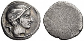 ETRURIA, Populonia. 3rd century BC. 5 Asses (Silver, 12mm, 1.80 g), The 'Head of Turms Group'. Head of Turms to right, wearing petasos; behind, V. Rev...