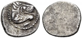 ETRURIA, Populonia. 3rd century BC. 5 units (Silver, 11mm, 1.13 g), The 'Crude Head of Lion Group'. Head of lion to right with open jaws; below, denom...