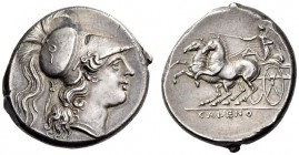 CAMPANIA, Cales. Circa 265-240 BC. Didrachm (Silver, 22mm, 7.35 g 4). Head of Athena to right, wearing crested Corinthian helmet; behind head, sword. ...
