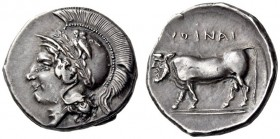 CAMPANIA, Hyria. Circa 400-395 BC. Didrachm (Silver, 20mm, 7.13 g 9). Head of Athena to left, wearing Attic helmet adorned with a laurel branch and an...