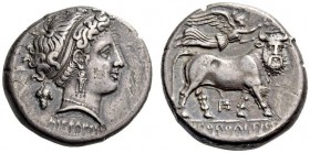 CAMPANIA, Neapolis. Circa 320-300 BC. Didrachm (Silver, 19mm, 7.34 g 11). ΔΙΟΦΑΝΟΥΣ Diademend head of nymph to right, wearing triple-pendant earring a...