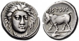 CAMPANIA, Phistelia. Circa 405-400 BC. Didrachm (Silver, 19mm, 7.42 g 1). Facing head of a nymph, wearing necklace and with her head turned slightly t...