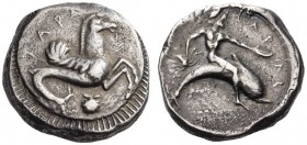 CALABRIA, Tarentum. Circa 490-480 BC. Nomos (Silver, 20mm, 8.10 g 12). ΤΑΡΑϞ Hippocamp to right; below, scallop; border of rays. Rev. ΤΑΡΑϞ Phalanthos...