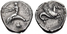 CALABRIA, Tarentum. Circa 465-455 BC. Nomos (Silver, 19mm, 7.92 g 12). ΤΑΡΑϞ Phalanthos, nude, riding dolphin to left, both of his arms outstretched t...