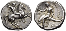 CALABRIA, Tarentum. Circa 315-302 BC. Nomos (Silver, 21mm, 7.96 g 5). Nude rider on horse galloping to right, stabbing downwards with a spear held in ...