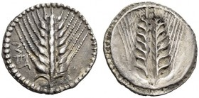 LUCANIA, Metapontum. Circa 540-510 BC. Drachm or Third Stater (Silver, 17mm, 2.72 g 12). ΜΕΤ Ear of barley with seven grains; around, border of dots. ...