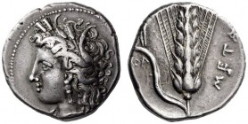 LUCANIA, Metapontum. Circa 330-290 BC. Didrachm or Nomos (Silver, 20mm, 7.95 g 11). Head of Demeter to left, wearing grain wreath, triple pendant earr...