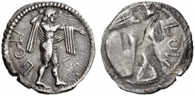 LUCANIA, Poseidonia. Circa 530-500 BC. Drachm (Silver, 20mm, 3.44 g 12). ΠΟΣ (retrograde) Poseidon, nude but for chlamys over his shoulders, striding ...