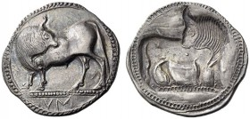 LUCANIA, Sybaris. Circa 550-510 BC. Stater (Silver, 30mm, 8.31 g 12). VM Bull standing to left on dotted ground line, head turned back to right; cable...