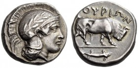 LUCANIA, Thourioi. Circa 443-400 BC. Stater (Silver, 18mm, 8.03 g 9). Head of Athena to right, wearing an Attic helmet ornamented with an olive branch...