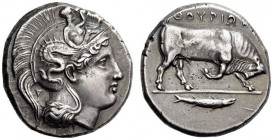 LUCANIA, Thourioi. Circa 400-350 BC. Distater (Silver, 24mm, 15.70 g). Head of Athena to right, wearing helmet adorned, on the bowl, with Skylla raisi...