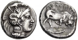 LUCANIA, Thourioi. Circa 400-350 BC. Stater (Silver, 20mm, 7.34 g 7). Head of Athena to right, wearing crested Attic helmet adorned with Skylla to rig...