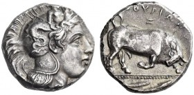 LUCANIA, Thourioi. Circa 350-300 BC. Distater (Silver, 23mm, 15.99 g 3). Head of Athena to right, wearing helmet adorned, on the bowl, with Skylla hol...