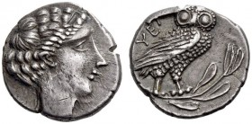 LUCANIA, Velia. Circa 440/35-400 BC. Drachm (Silver, 17mm, 4.01 g 10). Head of a nymph to right, with curly hair confined by a band. Rev. ΥΕΛ[Η] Owl s...
