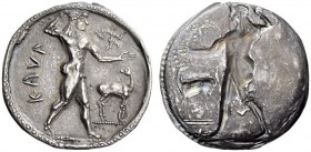 BRUTTIUM, Kaulonia. Circa 525-500 BC. Stater (Silver, 30mm, 7.93 g 12). ΚΑVΛ Apollo, nude, striding right, brandishing laurel branch in his upraised r...