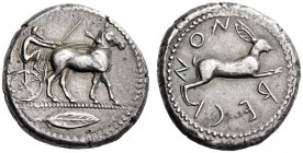 BRUTTIUM, Rhegion. Circa 480-462 BC. Tetradrachm (Silver, 26mm, 17.26 g 2). Bearded charioteer driving biga of mules to right; in exergue, laurel leaf...