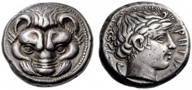 BRUTTIUM, Rhegion. Circa 415/0-387 BC. Tetradrachm (Silver, 23mm, 17.27 g 7). Lion's mask facing. Rev. ΡΗΓΙΝΟΝ Laureate head of Apollo to right, with ...