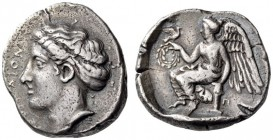 BRUTTIUM, Terina. Circa 420-400 BC. Stater (Silver, 20mm, 7.77 g 4). ΤΕΡΙΝΑΙΟΝ Head of nymph to left, wearing pearl necklace and with her hair bound i...