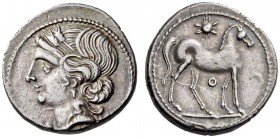 BRUTTIUM, Carthaginian occupation. Circa 215-205 BC. Half-Shekel (Silver, 17mm, 3.66 g 9), struck during the Second Punic War. Head of Tanit to left, ...