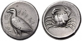 SICILY, Akragas. Circa 465/4-446 BC. Tetradrachm (Silver, 26mm, 17.18 g 4). ΑΚΡΑC - ΑΝΤΟΣ (partially retrograde) Eagle standing left with closed wings...