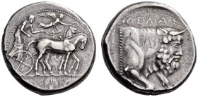 SICILY, Gela. Circa 450-440 BC. Tetradrachm (Silver, 25mm, 17.23 g 9). Quadriga driven slowly to right by a bearded charioteer; above, Nike flying rig...