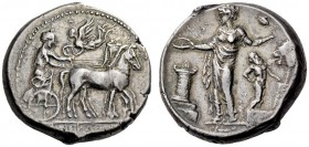 SICILY, Himera. Circa 420-410 BC. Tetradrachm (Silver, 26mm, 17.16 g 1). [ΙΜΕΡΑΙΟΝ] Charioteer driving quadriga slowly to right; above, Nike flying le...
