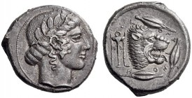 SICILY, Leontini. Circa 450-440 BC. Tetradrachm (Silver, 25mm, 16.61 g 9). Laureate head of Apollo to right. Rev. VΕ-ΟΝΤΙΝΟ-Ν Lion's head with open ja...