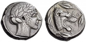 SICILY, Leontini. Circa 450-440 BC. Tetradrachm (Silver, 22mm, 17.13 g 2). Laureate head of Apollo to right. Rev. VΕΟ-ΝΤ-Ι-ΝΟ-Ν Lion's head with open ...