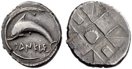 SICILY, Messana (as Zankle). Circa 500-493 BC. Drachm (Silver, 21mm, 6.13 g). DANKLE Dolphin to left within the sickle-shaped harbor of Messana. Rev. ...