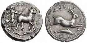 SICILY, Messana. 420-413 BC. Tetradrachm (Silver, 26mm, 17.31 g 12). ΜΕΣΣΑΝΑ (retrograde) The Nymph Messana, wearing long chiton and holding whip and ...