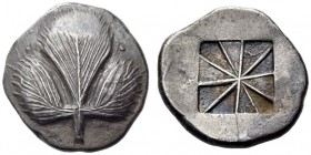 SICILY, Selinos. Circa 540-515 BC. Didrachm (Silver, 22mm, 8.81 g). Wild parsley leaf Rev. Incuse square divided diagonally into ten raised and lowere...