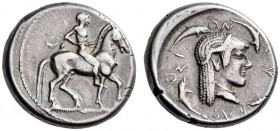 SICILY, Syracuse. 485-466 BC. Didrachm (Silver, 19mm, 8.30 g 4). Nude and bearded horseman riding to right, leading a spare horse to his left. Rev. ϞΥ...