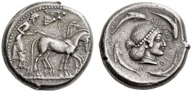 SICILY, Syracuse. Circa 480 BC. Tetradrachm (Silver, 23mm, 17.26 g 9). Male charioteer, wearing a long chiton and holding a goad in his right hand and...